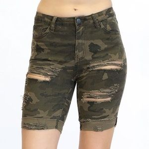 camo distressed a little over the knee shorts